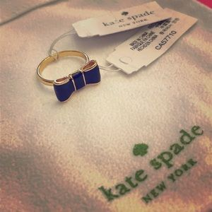 """NWT Authentic Kate Spade """"Take a Bow"""" Ring, Black"""